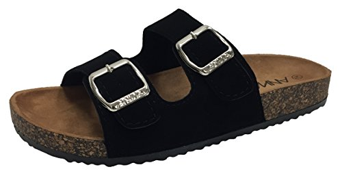 Image of Annas Fashion Anna Women's Double Strap Cork Sole Slide Sandal Buckle