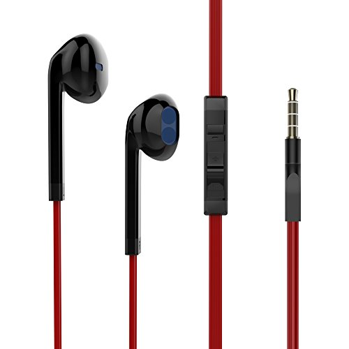 Reddie Wired Earbuds Stereo In Ear Earphones Iphone Headphones with Microphone and Volume Control Earbud Black and Red