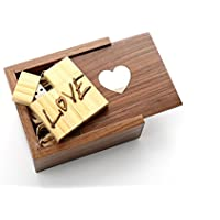 2 16GB Love Bamboo USB Flash Drive - in Inlaid Mother of Pearl Heart Walnut Box filled with Raffia Grass - Love Design