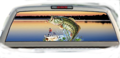 Bass Fishing- 17 Inches-by-56 Inches Compact Pickup Truck- Rear Window Graphics (Rear Window Fishing Graphics compare prices)