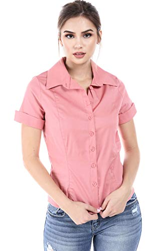 Womens 3/4 and Short Sleeve Fitted Button Down Shirts, Made in USA (1XL, S/S Mauve)