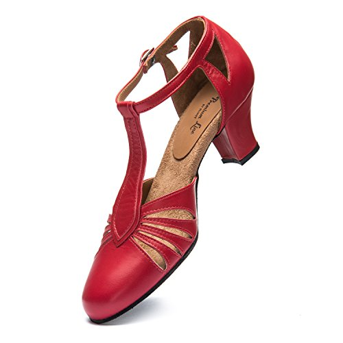 Rumpf 9210 Zapatos Baile Mujer Balboa Latino Salsa Rumba Tango Salón Cuero suela de cromo tacón 5 cm ¡Hechos en Italia! Rojo