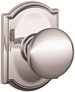 Schalge F94PLY625CAM Bright Chrome Interior Pack Plymouth Knob Dummy Interior Pack with Deadbolt Cover Plate and Decorative Camelot Rose