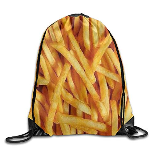 Personalized Printed Sports Leisure Shoulder Bundle Backpack French Fries Portable Drawstring Beam Bag For Gym/Library/Playground/Classroom/Office]()