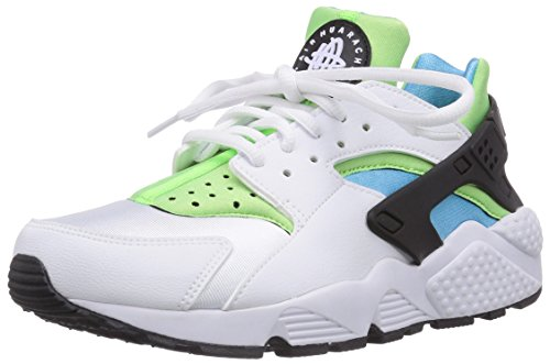 NIKE Women's Air Huarache (White/Clearwater-Flash Lime) (9)