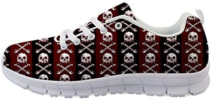 Owaheson Lace-up Sneaker Training Shoe Mens Womens Poisonous Pirate Skulls Stripes