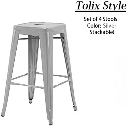 24 Counter Height Tolix Style Bar Stools, Stackable, Indoor Outdoor, Kitchen Trattoria, 350LB Limit, Metal Bar Stools Industrial, Galvanized Steel, Silver Set of 4