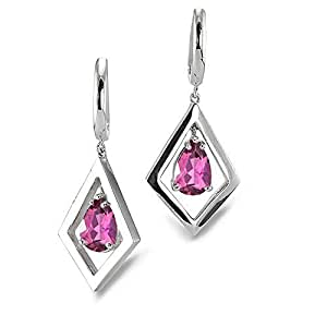 CleverEve Luxury Series Parallelogram 1.68 ctw Genuine Natural Pink Tourmaline Earrings w/ Two 8x6mm Pear-Cut Tourmaline Center