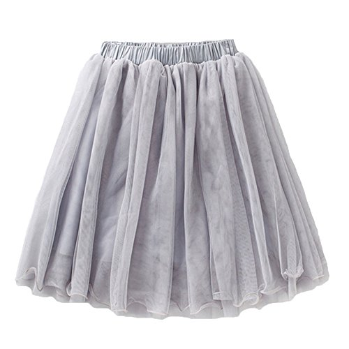 Girls Casual 4-Layer Tulle Tutu Puff Mid-Calf Long Skirt Age ()