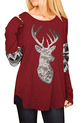 AlvaQ Women Christmas Fall Floral Print Long Blouses Casual Tops Juniors Tunic Under 20 Dollors - Christmas Floral