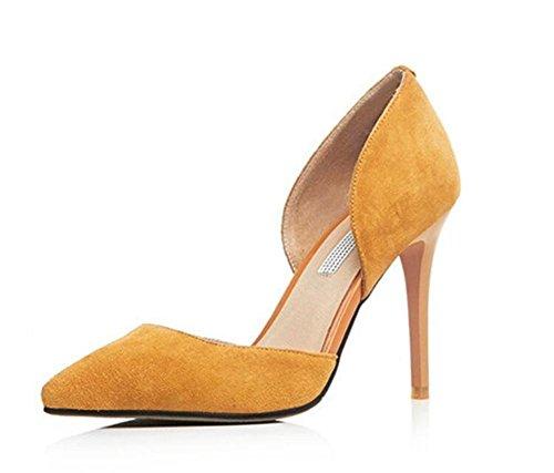 Femmes Mince chaussures à talons hauts creux chaussures de noces discothèque banquet chaussures simples , yellow , 38