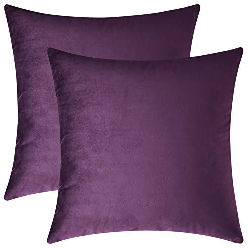 Mixhug Set of 2 Cozy Velvet Square Decorative Throw Pillow Covers for Couch and Bed, Purple, 18 x 18 Inches (Toss Purple Pillows)