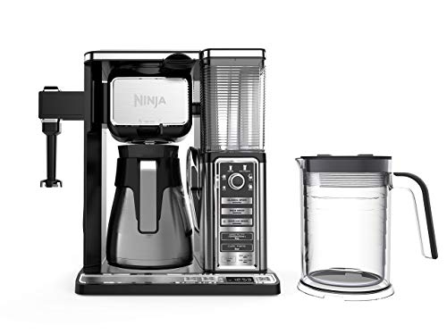 Ninja Coffee Bar Auto-iQ Programmable Coffee Maker with 6 Brew Sizes, 5 Brew Options, Milk Frother, Removable Water Reservoir, Stainless Carafe (CF097) (Renewed)