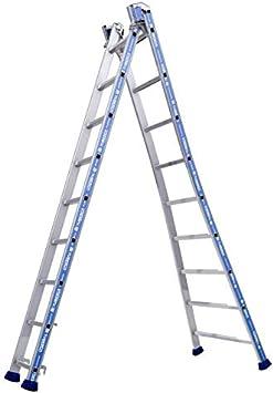 Tubesca – Escalera transformable 2 tramos 9 + 9 Peldaños haut. punto de Maxi 5,50 m – Platinium: Amazon.es: Bricolaje y herramientas