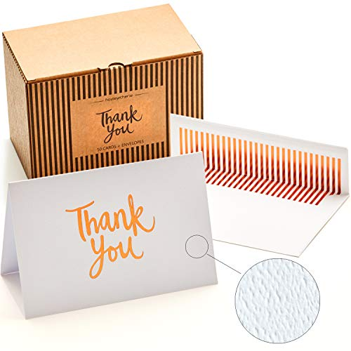 - 50 Luxury Thank You Cards and Self Seal Envelopes - Copper Foil Design with Matching Envelopes - Premium Heavyweight Card Stock with Hammered Texture - 4x6 Photo Size - Hayley Cherie