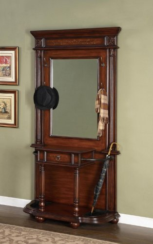 Entryway Hall Tree Coat Hanger with Umbrella Rack in Medium Mahogany Finish (Mahogany Hall)