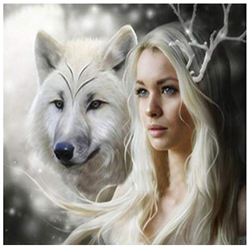 DIY 5D Diamond Painting Kits Full Drill White Wolf and Girl Diamond Paint By Number Kits Crafts & Sewing Cross Stitch for Adults Kids,Diamond Rhinestone Crystal Painting Kit Art Craft for Home Sticker -