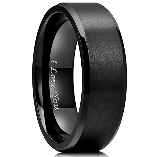 (King Will Basic 8mm Stainless Steel Ring Black Plated Matte Finish&Polished Beveled Edge with Laser Etched I Love You(10))