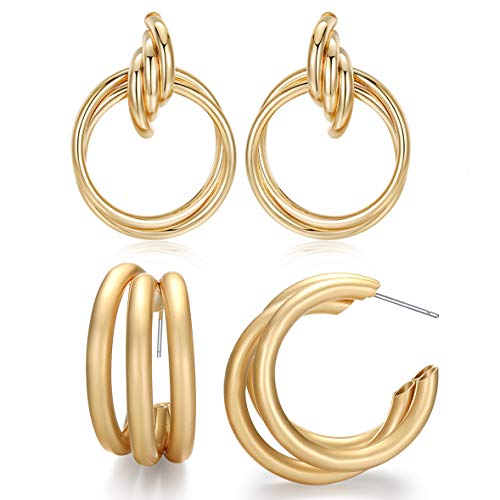 Lariat Dangle Hoop Earrings Set - 18k Gold 3C Type and 14k Matte Hypoallergenic Vintage Multi Circle Exaggerated Simple Personalized Statement Earring for Women ()