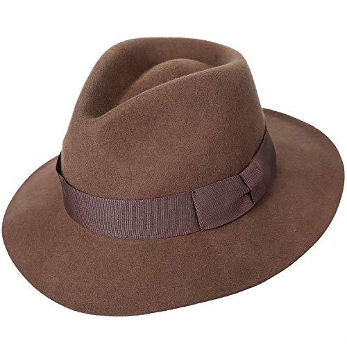 Sedancasesa Wool Felt Fedora Hat Mens Western Outback Safari Wide Brim Hats