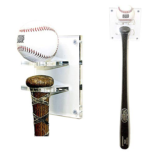 (Better Display Cases Baseball Bat and Ball Combo Vertical Display Wall Mount Clear Acrylic Bracket (A054))