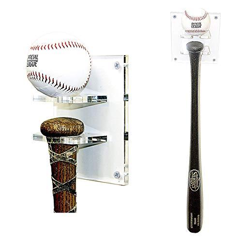 Bat Baseball Holder Ball - Better Display Cases Baseball Bat and Ball Combo Vertical Display Wall Mount Clear Acrylic Bracket (A054)