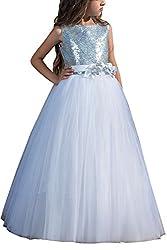 Long White Sleeveless Sequin Flower Girl Dress