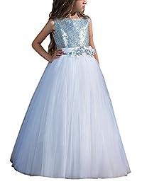 Carat White Flower Girl Dress Long Girls Sequin Sleeveless Ball Gowns