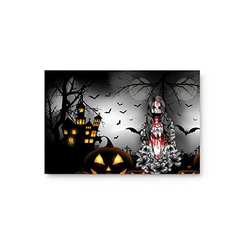 URDER Welcome Doormats Rubber Non-Slip Floor Mat Rugs for Entrance Way/Indoor/Front Door/Bathroom/Kitchen, Shoe Scraper Carpet 23.6 x 15.7 Inch Halloween Night Horror Castle Pumpkin and Zombie Girl