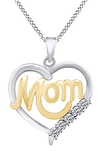 Mothers Day Jewelry Gifts White Natural Diamond Accent Mom Heart Pendant Necklace in 14k White Gold Over Sterling Silver ()