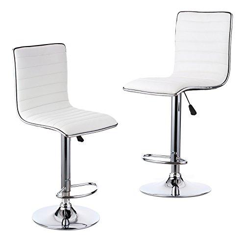 IKAYAA PU Leather Pneumatic Swivel Bar Stools Chairs Height