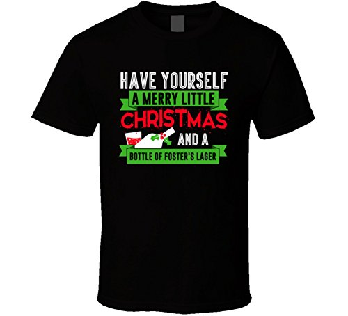 Fosters Lager (Tshirtshark Have Yourself Merry Christmas and Bottle of Fosters Lager Beer Party Gift T Shirt 2XL Black)