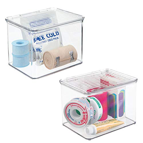 mDesign Stackable Plastic Storage Bin Box with Hinged Lid Organizer for Vitamins, Supplements, Serums, Essential Oils, Medicine Pill Bottles, Adhesive Bandages, First Aid Supplies - 2 Pack - Clear