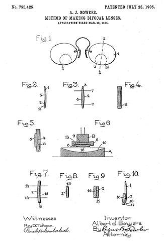 1905 - Bifocal Lenses - Eye Clinic - Optometrist - A. J. Bowers - Patent Art Poster (Invention Bifocals Of The)