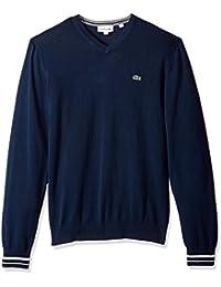 Men's Long Sleeve Semi Fancy Jersey V-Neck Sweater, AH4086,