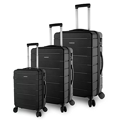 TravelCross Vermont Luggage 3 Piece Ultra-Resistant Lightweight Spinner Set (Black) by Travelcross