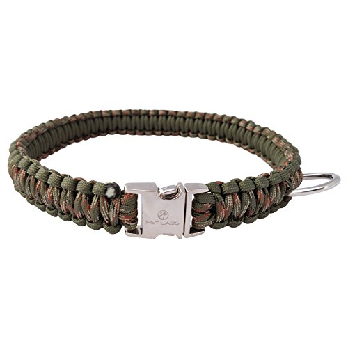 Pet Labs Paracord Dog Collar Army Green and Army Green Camo with Buckle (14.7in / 36cm)