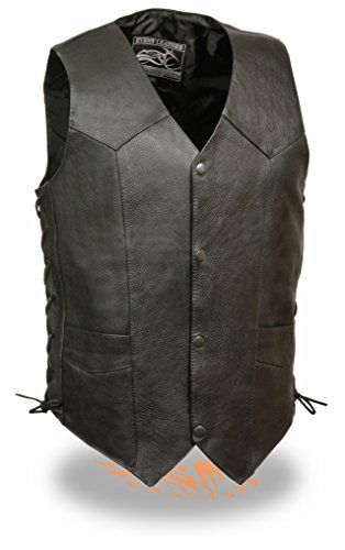 Milwaukee- Men's ''Goat Skin'' Side Lace Biker Leather Vest (Black, 3X) by Milwaukee Leather