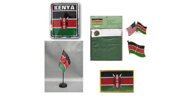 3x5 Flag, Decal, Lapel Pins, Desk Flag /& Patch Kenya Heritage Flag Set