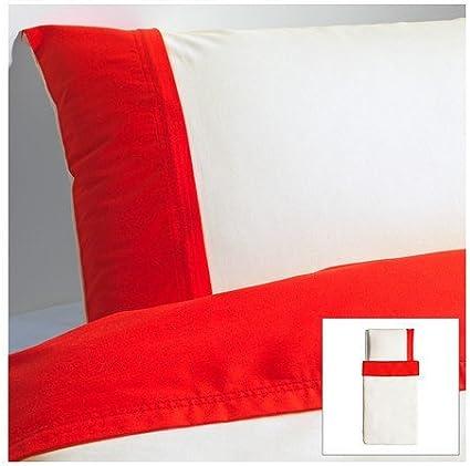 Ikea Farglav Parure De Lit 2 Pieces De Douilles Avec Fermeture Eclair 140 X 200 Cm Coton Lyocell Humidite Verdunstet 166 Fils Rouge Blanc Amazon Fr Cuisine Maison