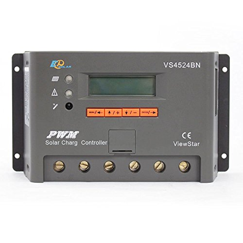 EPsolar Viewstar VS4524BN PWM Solar Battery Charge Controller 45A 12/24V with LCD Display for Solar Battery Charging