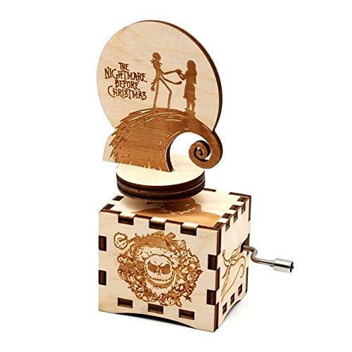 SIQI The Nightmare Before Christmas Music Box Hand Crank Music Box Gifts Antique Carved Wood Musical Gifts, Plays Halloween Theme