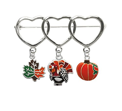 Silver Plated Three Hearts Thanksgiving pin with Maple Leaf, Turkey, and Pumpkin charms, Qty (Enameled Leaf Pin)