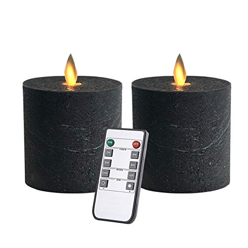 (Flameless Candles Flickering LED Candles Battery Operated with Remote Control Timers for Table Centrepiece Halloween Pillar Black Candles 3x3 in Flat top)