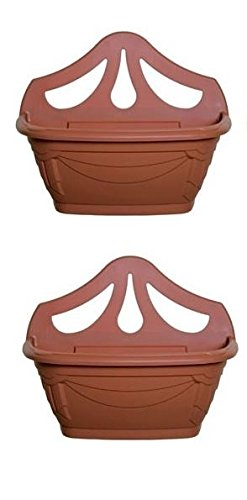 42cm Venetian Flat Wall Planter Plastic Garden Plant Pot Terracotta Colour