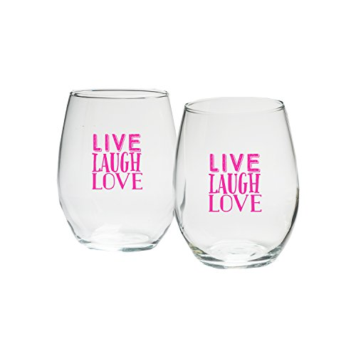 Kate Aspen Holiday Live Laugh Love in Hot Pink Print Stemless Wine Glass, 9-Ounce, Clear, Set of (Kate Aspen Glass Candle)