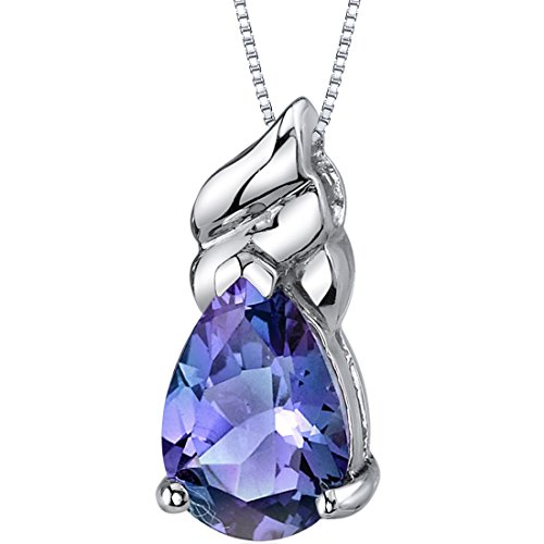 Simulated Alexandrite Pendant Sterling Silver Pear Shape 3.27 Carats ()