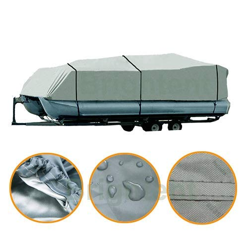 Brightent Pontoon Cover Heavy Duty 600D Waterproof Fabric Fishing Ski Trailerable XPT2G (Fit Pontoon Length 21'-24' ()
