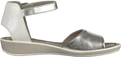 ara3600308 - Sandalias de Punta Descubierta Mujer Plateado - blanco y plateado