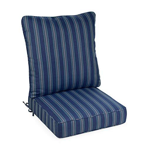 - Dark Blue Stripe Outdoor Deep Seat Cushion Set for Patio Chair Seat Back Cushion
